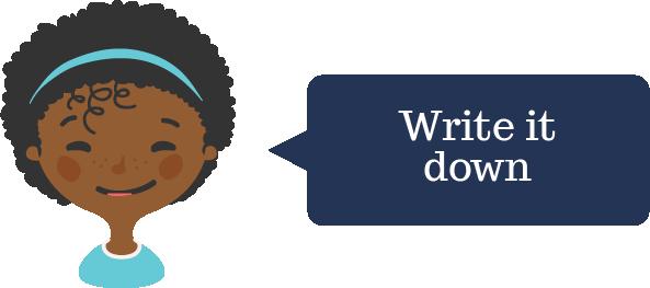 A cartoon black girl with speech bubble,